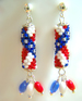 Designer Jewelry - Stars and Stripes Earrings with Dangles