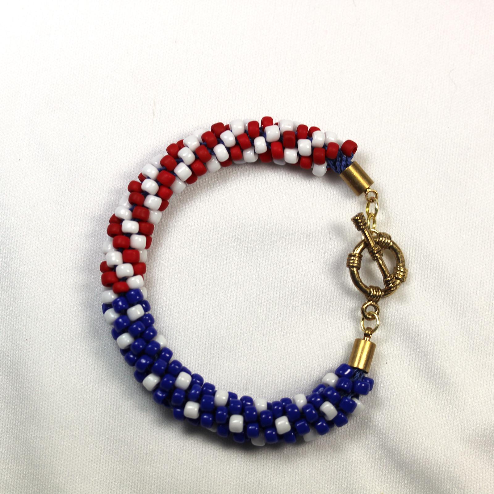 Designer Jewelry - KumihimoAmericaFlagwSpiralsPattern