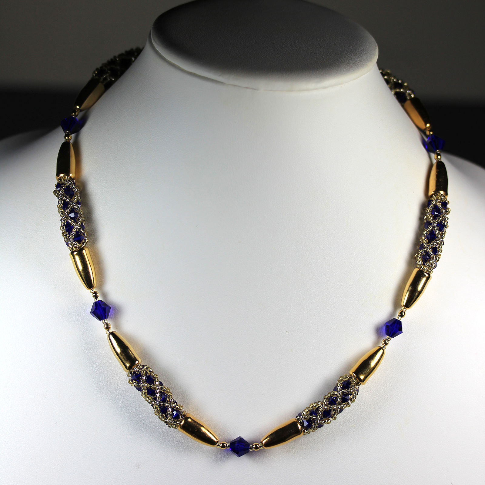 Designer Jewelry - Enclased Crystals in Cobalt Blue