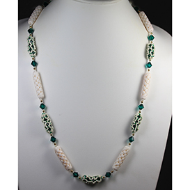 Designer Jewelry - Enclased Crystals with Bone Beads