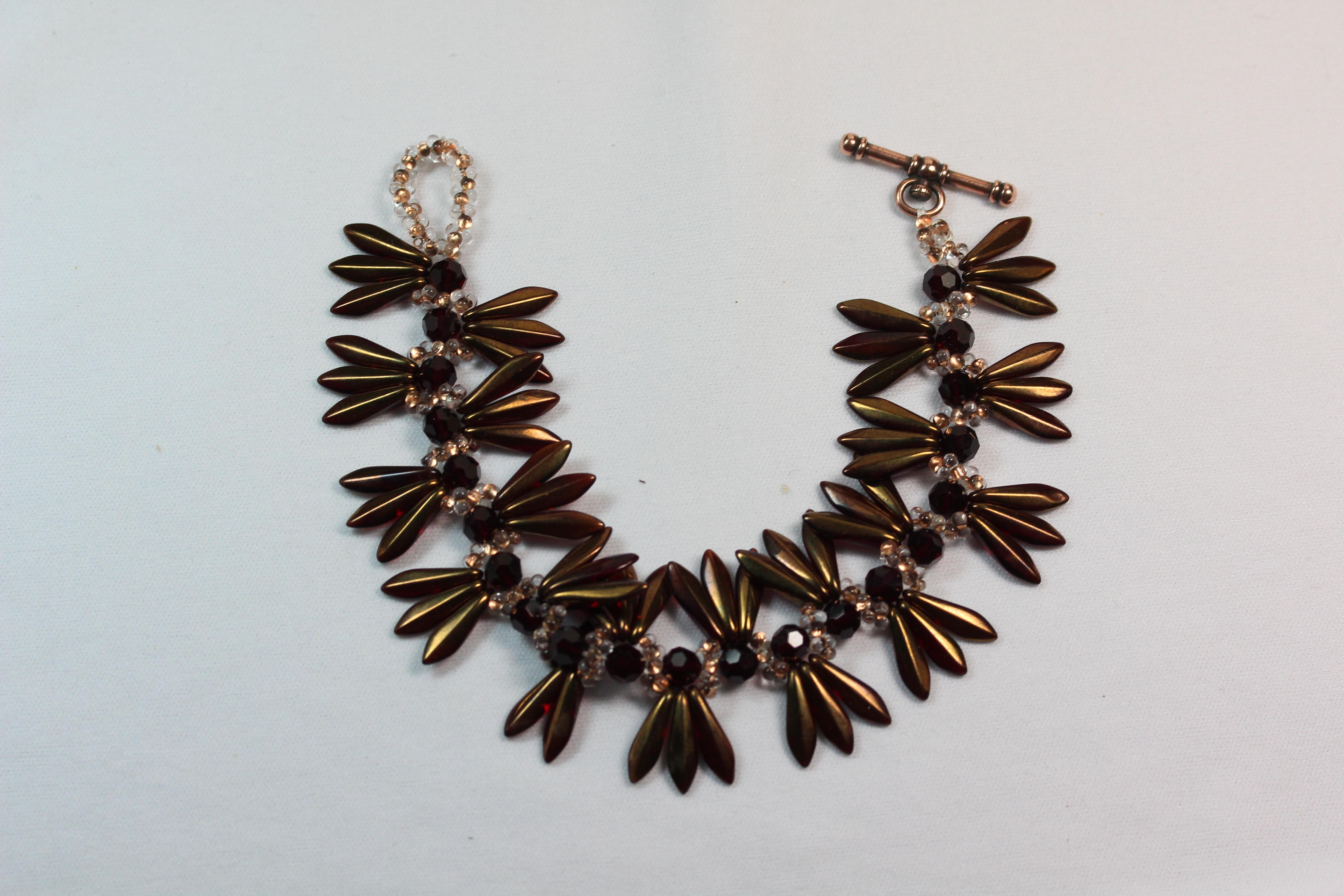 Designer Jewelry - Copper Dagger and Farfalle Butterfly Seed Bead Bracelet Pattern