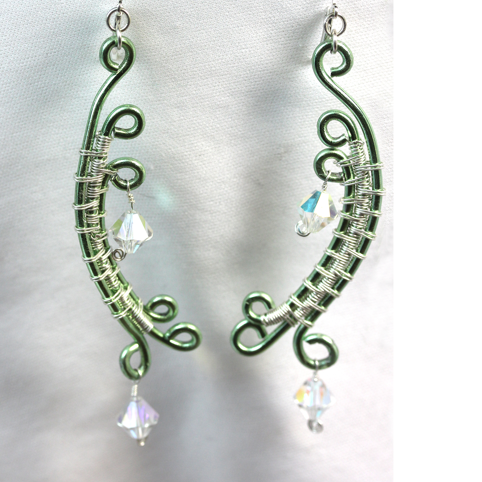 Wire wrapped fine silver green earrings