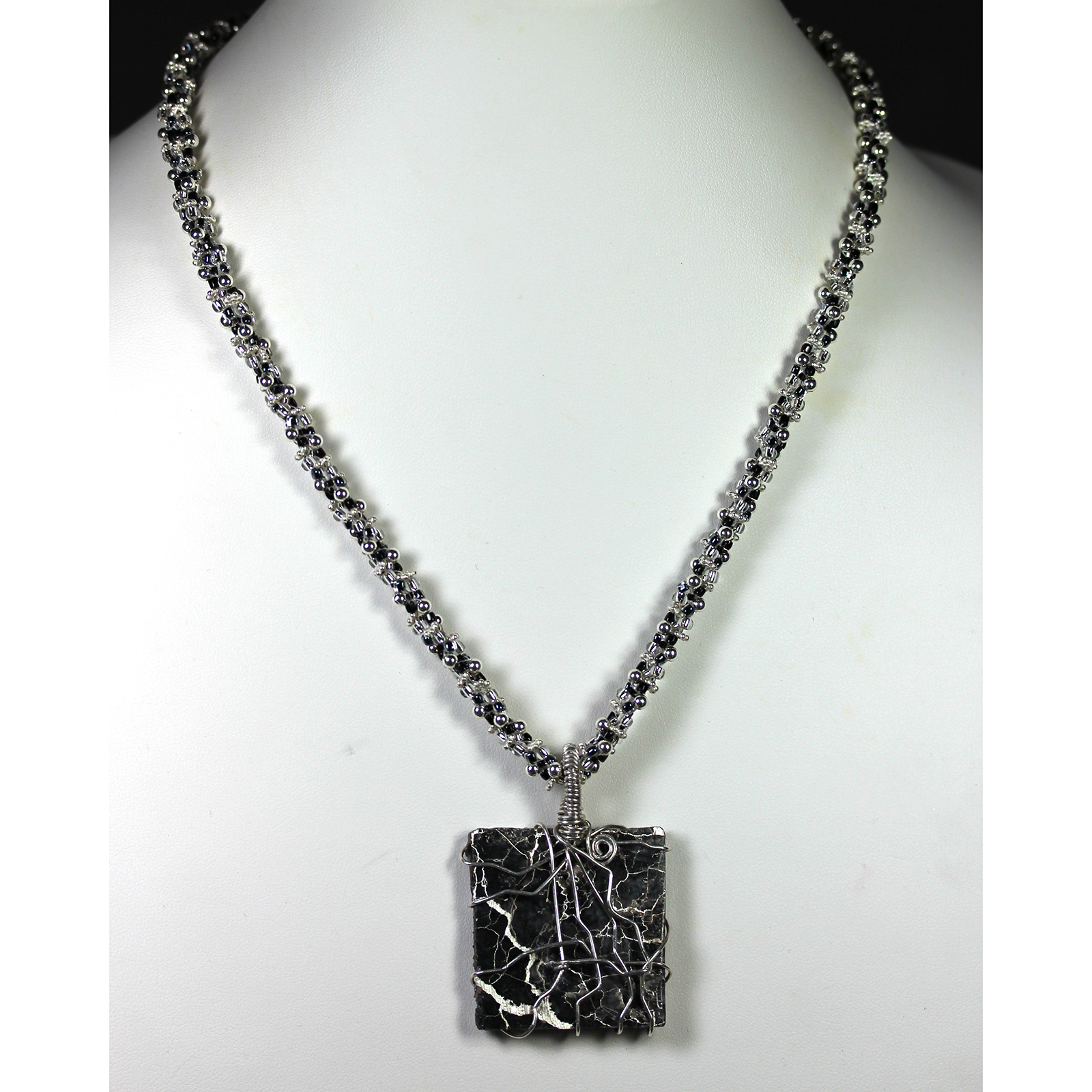 Sterling Silver Kumihimo Necklace with Silver in Matrix Pendant