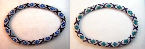 Designer Jewelry - Blue Moon Diamond Bead Crochet Bracelet Pattern