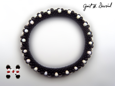 Designer Jewelry - Black and White Flower Bead Crochet Bracelet