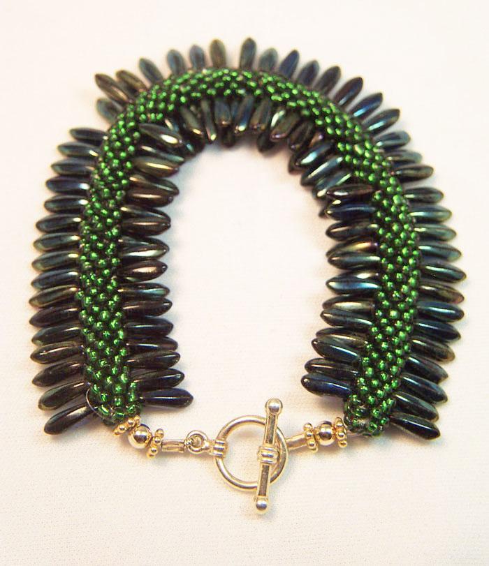 Designer Jewelry - Green Caterpillar Bracelet