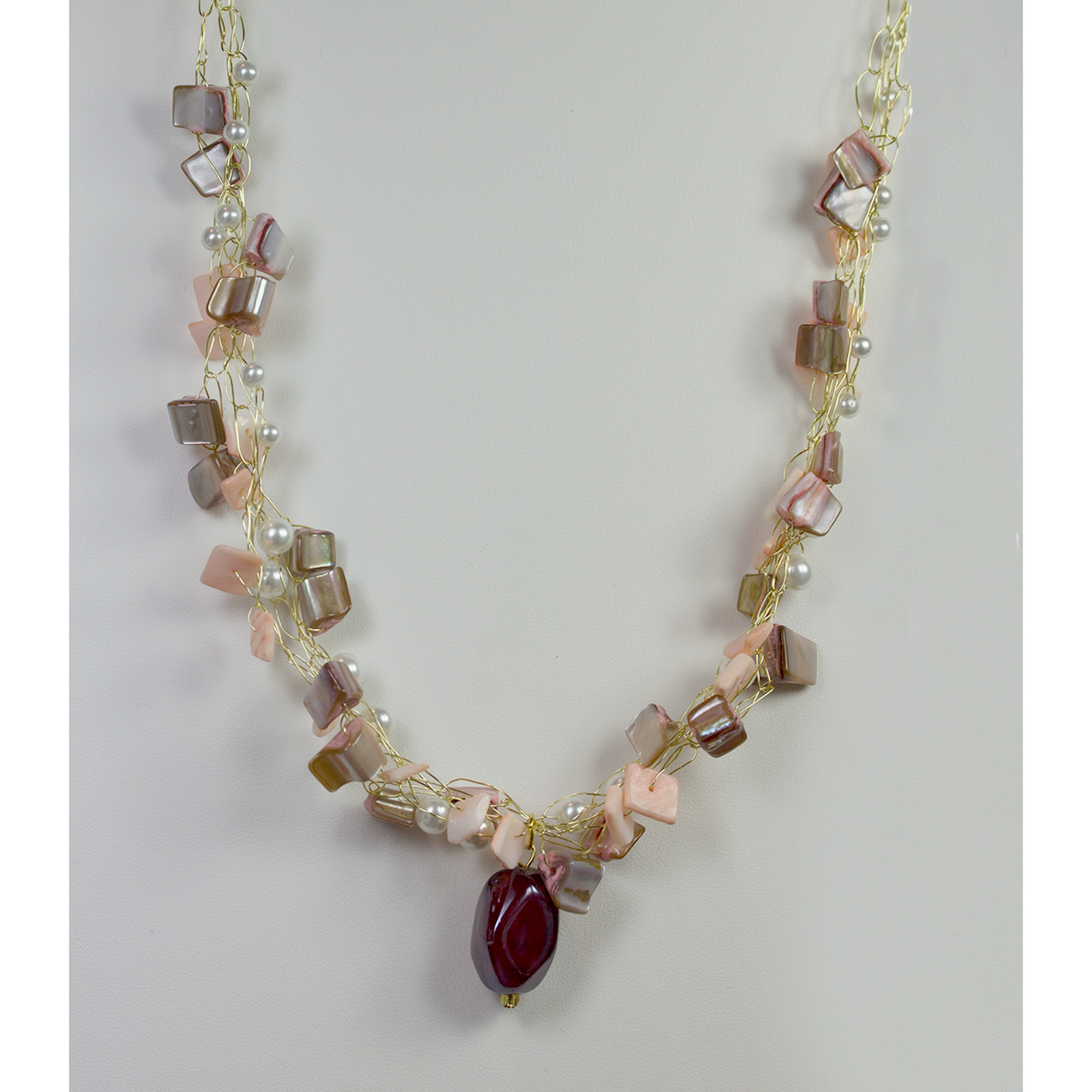 Designer Jewelry - Wire Crocheted Pearl & Shell Necklace