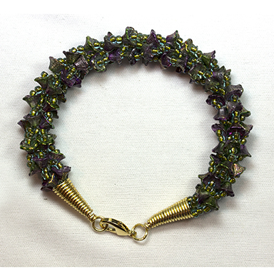 Kumihimo Bracelet Done with Flowercup beads