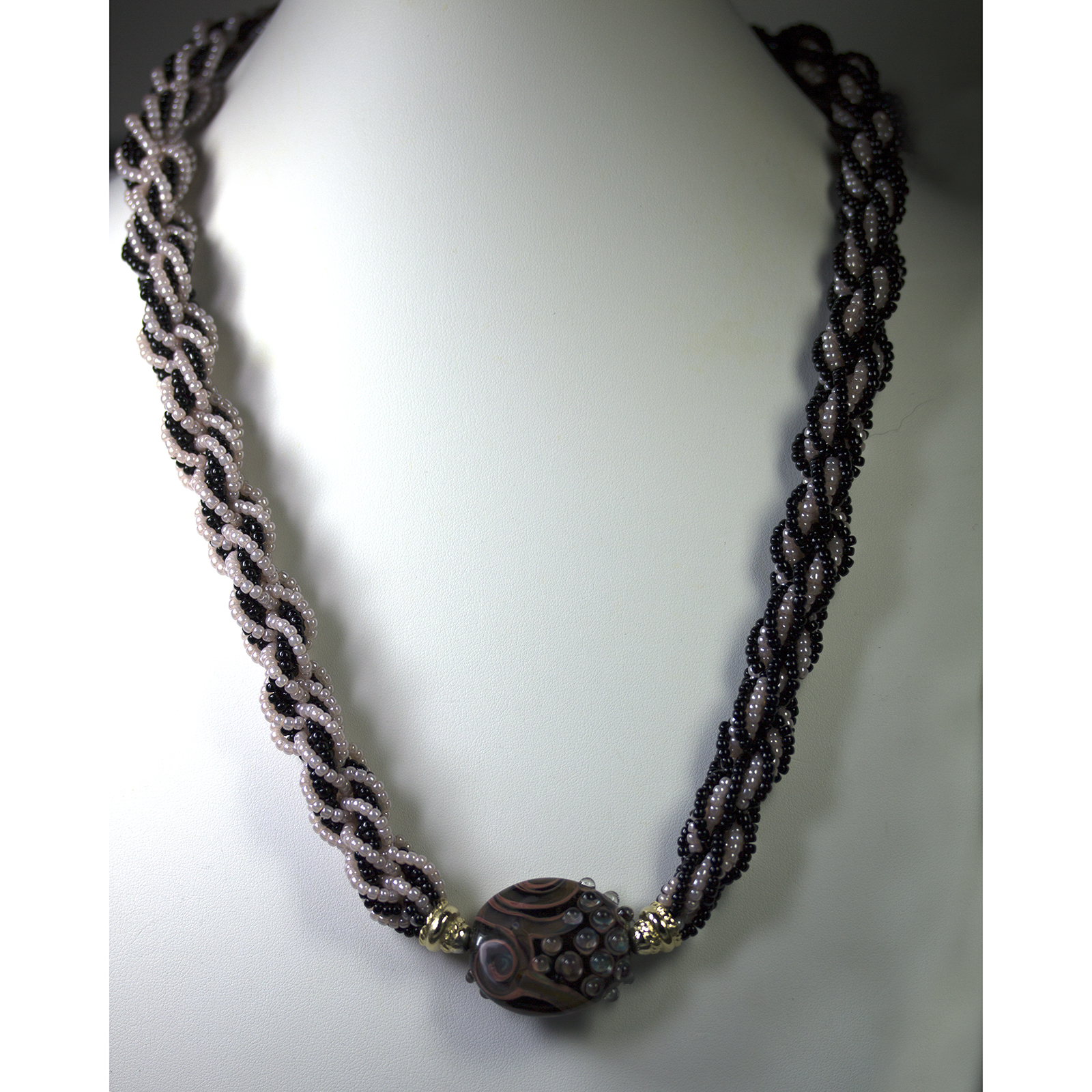 Kumihimo Necklace with Art Bead