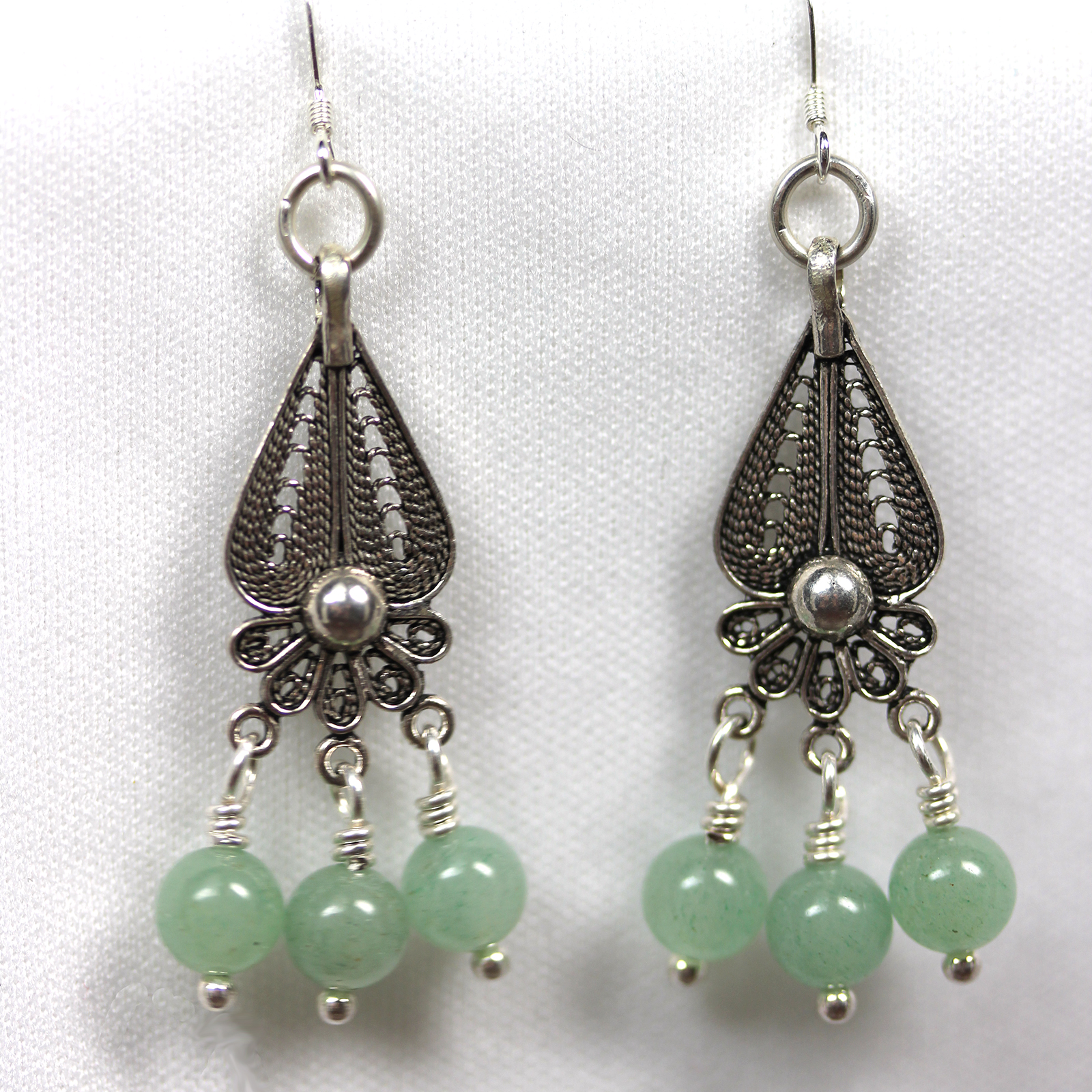 Sterling Silver Earrings with Jade Stones
