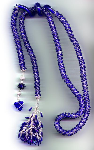 Designer Jewelry - Aqua and Bone Lariat