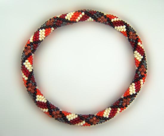 Designer Jewelry-Goldstone Plaid Seed Bead Crochet Bracelet Pattern