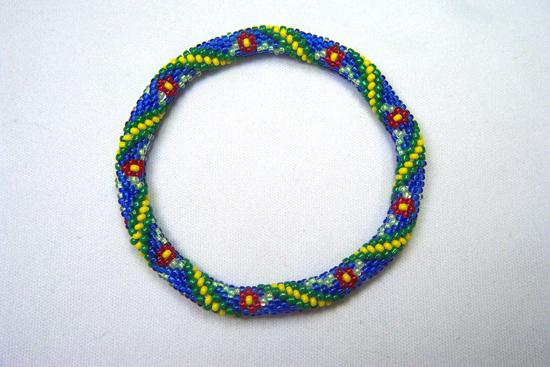 Designer Jewelry-Star & Stripes Seed Bead Bracelet