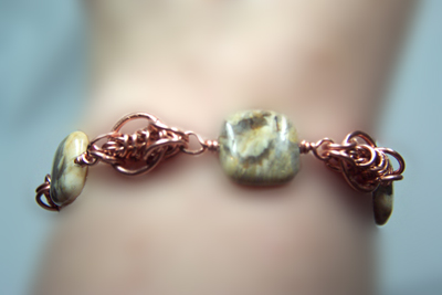 Designer Jewelry - Copper Chain Maille Bracelet on the Wrist