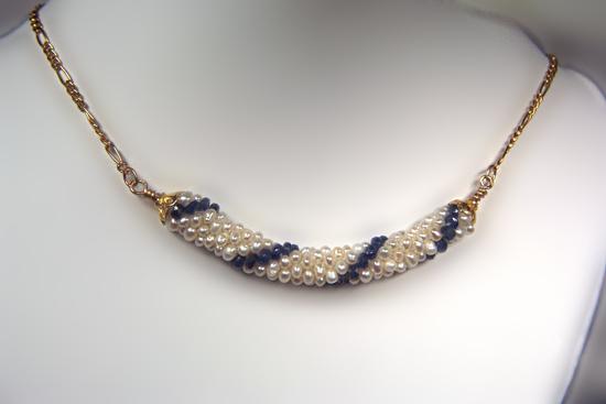 Designer Jewelry - Bead Crochet Necklace with Beadcaps