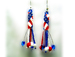 Designer Jewelry - Stars and Stripes Earrings with Fringe