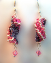 Designer Jewelry-Dutch Spiral Earrings in Black and Pink