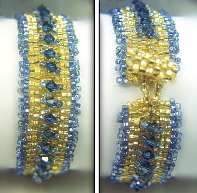2-drop peyote bracelet in blue