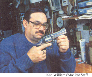 Ken Williams, Monitor Staff Photo Ricky with a gun converted with the Magna-trigger safety device.